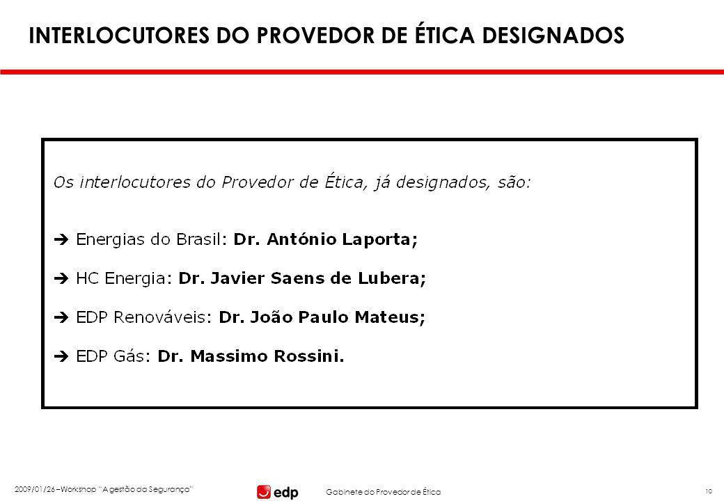 """Gabinete do Provedor de Ética 2009/01/26 –Workshop """"A gestão da Segurança"""" 10 INTERLOCUTORES DO PROVEDOR DE ÉTICA DESIGNADOS"""