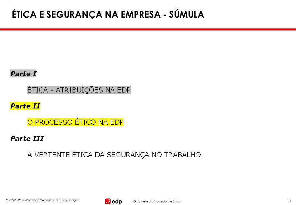 """Gabinete do Provedor de Ética 2009/01/26 –Workshop """"A gestão da Segurança"""" 12 ÉTICA E SEGURANÇA NA EMPRESA - SÚMULA"""
