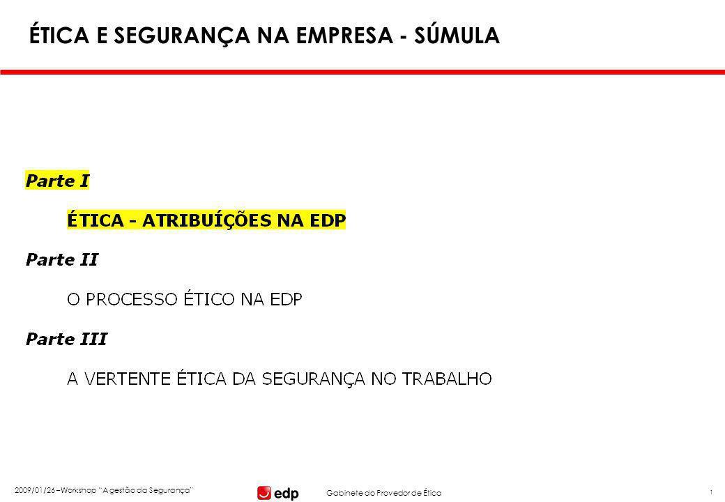 """Gabinete do Provedor de Ética 2009/01/26 –Workshop """"A gestão da Segurança"""" 1 ÉTICA E SEGURANÇA NA EMPRESA - SÚMULA"""