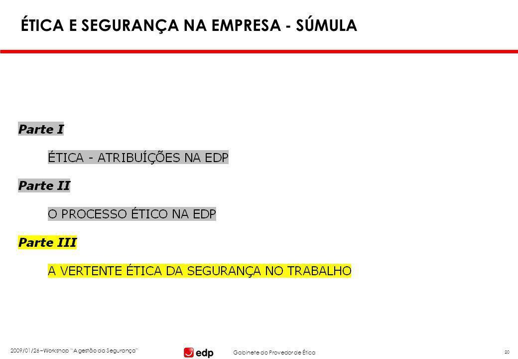 """Gabinete do Provedor de Ética 2009/01/26 –Workshop """"A gestão da Segurança"""" 20 ÉTICA E SEGURANÇA NA EMPRESA - SÚMULA"""