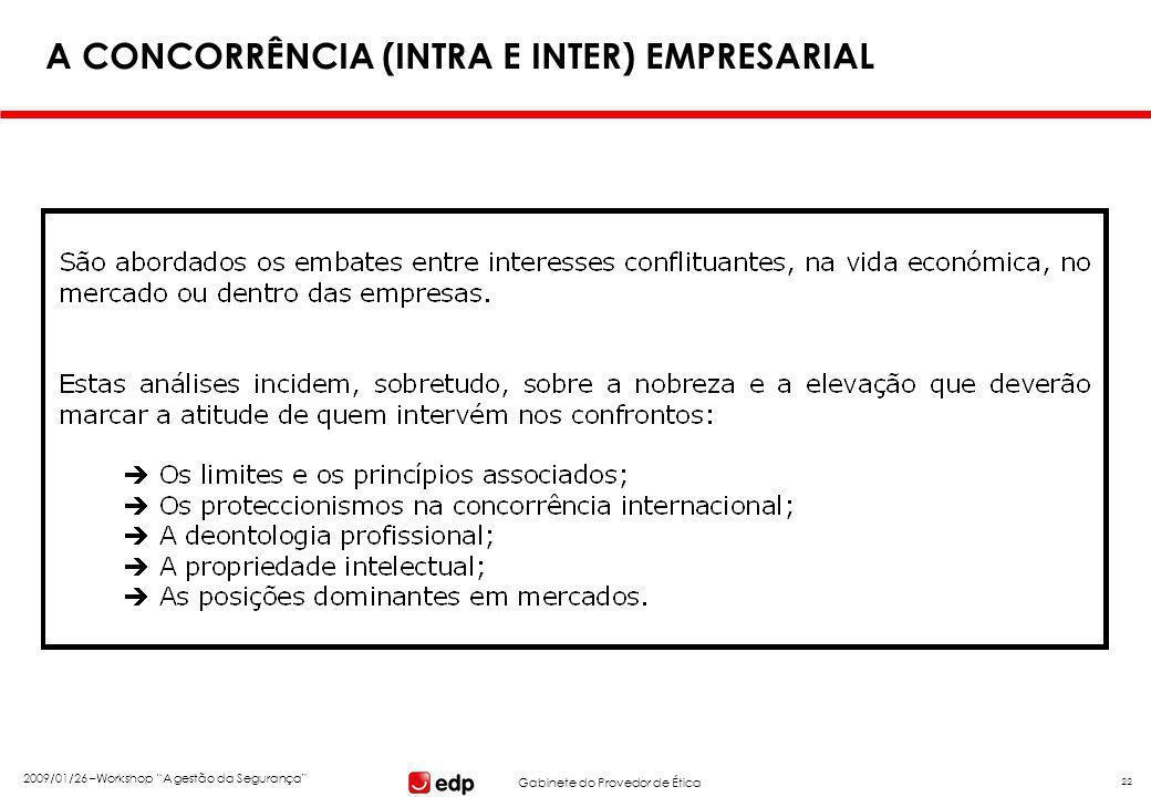 """Gabinete do Provedor de Ética 2009/01/26 –Workshop """"A gestão da Segurança"""" 22 A CONCORRÊNCIA (INTRA E INTER) EMPRESARIAL"""