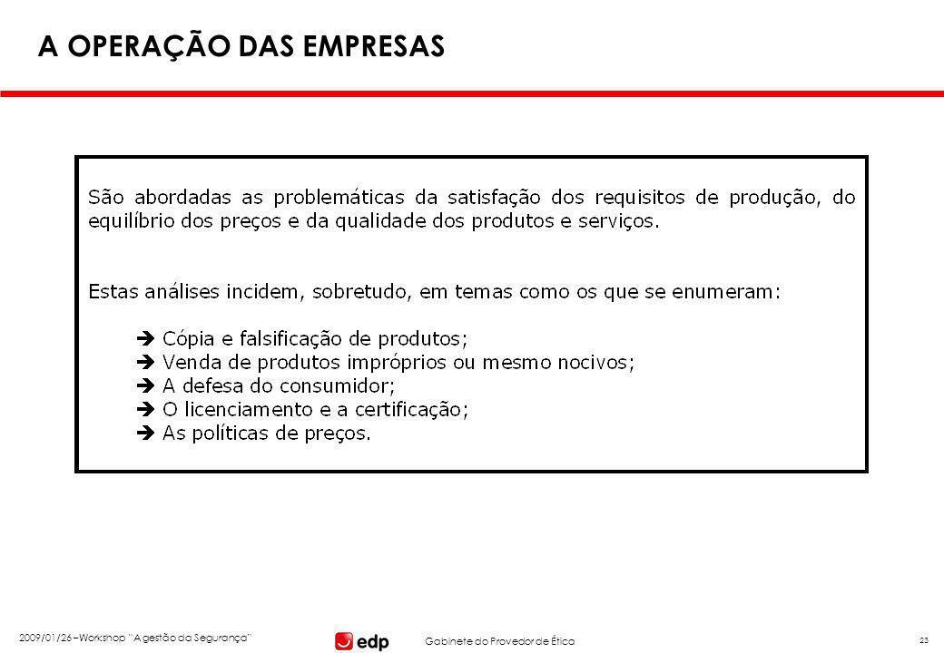 """Gabinete do Provedor de Ética 2009/01/26 –Workshop """"A gestão da Segurança"""" 23 A OPERAÇÃO DAS EMPRESAS"""