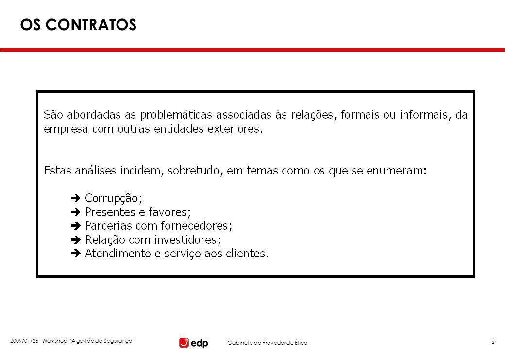 """Gabinete do Provedor de Ética 2009/01/26 –Workshop """"A gestão da Segurança"""" 24 OS CONTRATOS"""