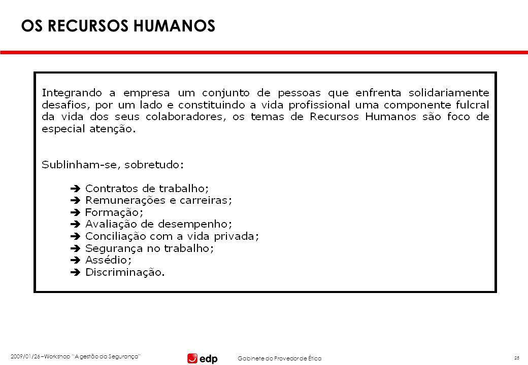 """Gabinete do Provedor de Ética 2009/01/26 –Workshop """"A gestão da Segurança"""" 25 OS RECURSOS HUMANOS"""