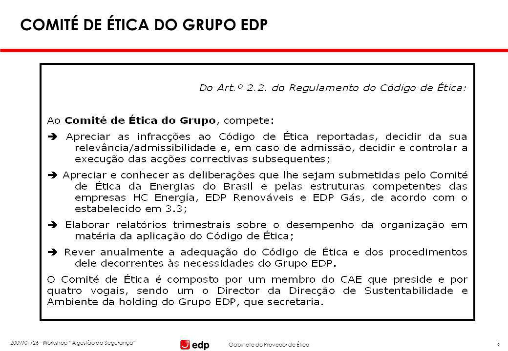 Gabinete do Provedor de Ética 2009/01/26 –Workshop A gestão da Segurança 27 A SEGURANÇA NO TRABALHO