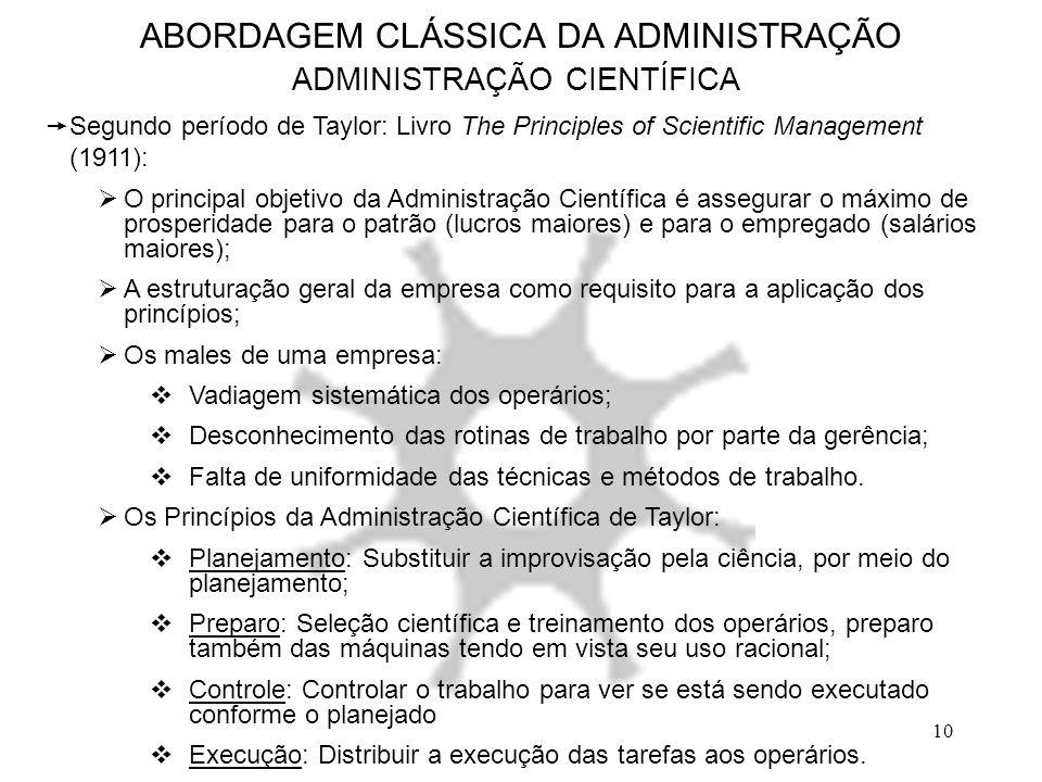 10 ABORDAGEM CLÁSSICA DA ADMINISTRAÇÃO ADMINISTRAÇÃO CIENTÍFICA  Segundo período de Taylor: Livro The Principles of Scientific Management (1911):  O