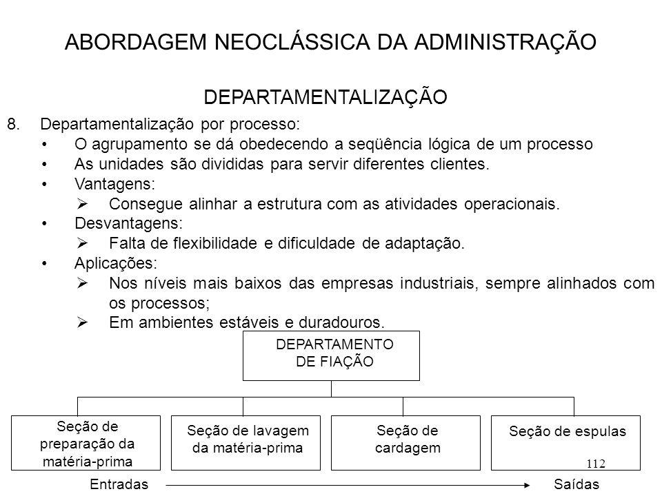 112 8.Departamentalização por processo: O agrupamento se dá obedecendo a seqüência lógica de um processo As unidades são divididas para servir diferen