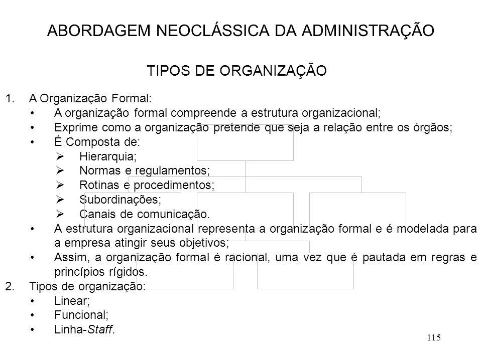 115 1.A Organização Formal: A organização formal compreende a estrutura organizacional; Exprime como a organização pretende que seja a relação entre o