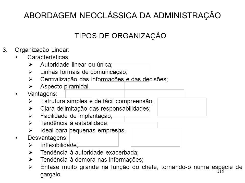 116 ABORDAGEM NEOCLÁSSICA DA ADMINISTRAÇÃO TIPOS DE ORGANIZAÇÃO 3.Organização Linear: Características:  Autoridade linear ou única;  Linhas formais