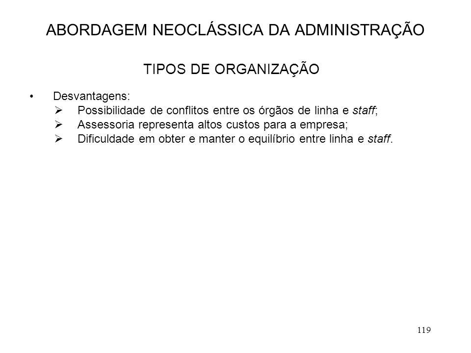 119 ABORDAGEM NEOCLÁSSICA DA ADMINISTRAÇÃO TIPOS DE ORGANIZAÇÃO Desvantagens:  Possibilidade de conflitos entre os órgãos de linha e staff;  Assesso