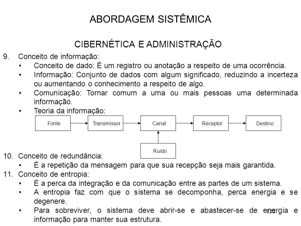 122 9.Conceito de informação: Conceito de dado: É um registro ou anotação a respeito de uma ocorrência. Informação: Conjunto de dados com algum signif