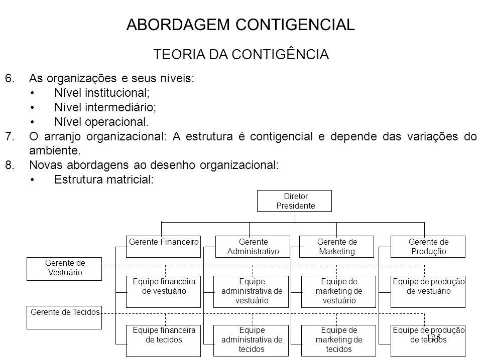 125 6.As organizações e seus níveis: Nível institucional; Nível intermediário; Nível operacional. 7.O arranjo organizacional: A estrutura é contigenci