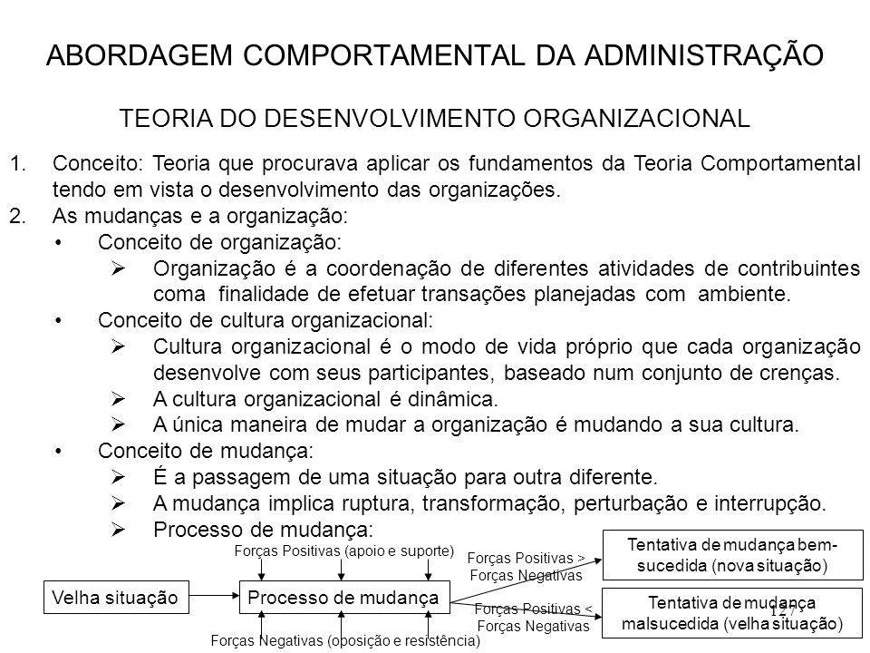 127 1.Conceito: Teoria que procurava aplicar os fundamentos da Teoria Comportamental tendo em vista o desenvolvimento das organizações. 2.As mudanças