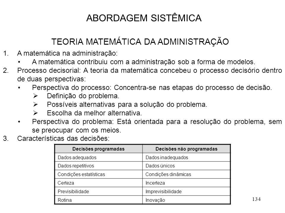 134 1.A matemática na administração: A matemática contribuiu com a administração sob a forma de modelos. 2.Processo decisorial: A teoria da matemática