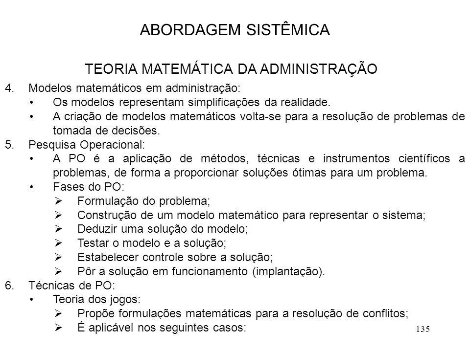 135 4.Modelos matemáticos em administração: Os modelos representam simplificações da realidade. A criação de modelos matemáticos volta-se para a resol