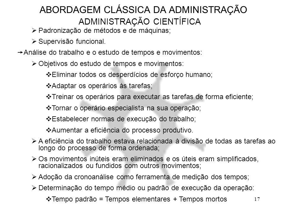 17 ABORDAGEM CLÁSSICA DA ADMINISTRAÇÃO ADMINISTRAÇÃO CIENTÍFICA  Padronização de métodos e de máquinas;  Supervisão funcional.  Análise do trabalho