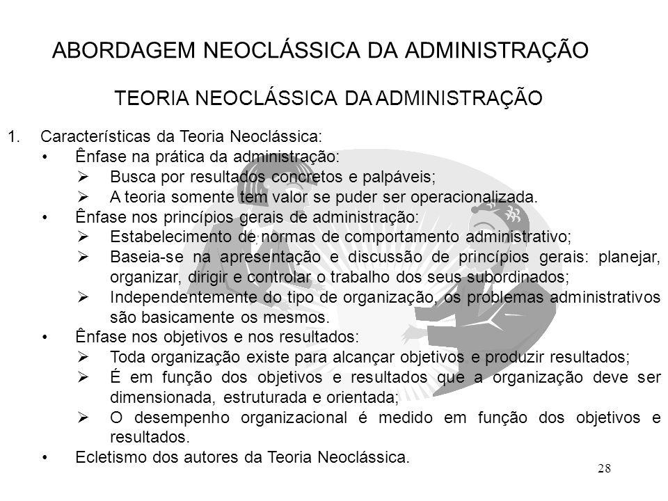 28 ABORDAGEM NEOCLÁSSICA DA ADMINISTRAÇÃO TEORIA NEOCLÁSSICA DA ADMINISTRAÇÃO 1.Características da Teoria Neoclássica: Ênfase na prática da administra
