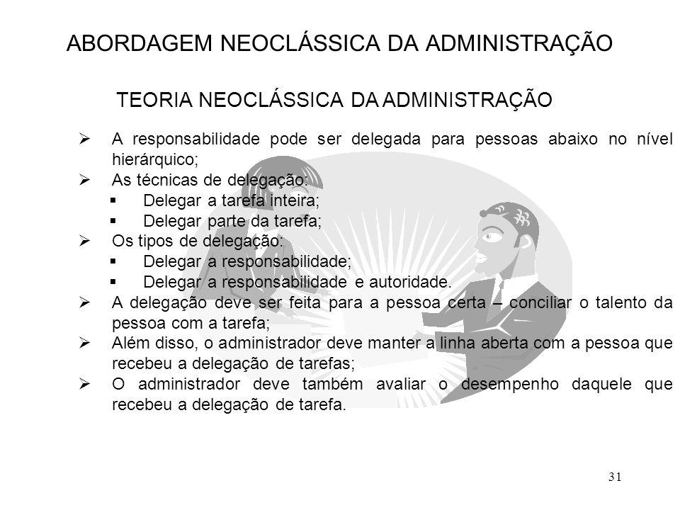 31  A responsabilidade pode ser delegada para pessoas abaixo no nível hierárquico;  As técnicas de delegação:  Delegar a tarefa inteira;  Delegar