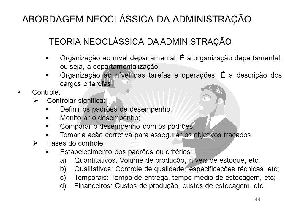 44 ABORDAGEM NEOCLÁSSICA DA ADMINISTRAÇÃO TEORIA NEOCLÁSSICA DA ADMINISTRAÇÃO  Organização ao nível departamental: É a organização departamental, ou