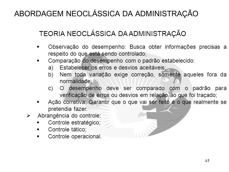 45 ABORDAGEM NEOCLÁSSICA DA ADMINISTRAÇÃO TEORIA NEOCLÁSSICA DA ADMINISTRAÇÃO  Observação do desempenho: Busca obter informações precisas a respeito
