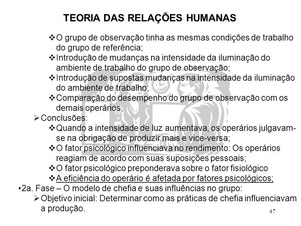 47 TEORIA DAS RELAÇÕES HUMANAS  O grupo de observação tinha as mesmas condições de trabalho do grupo de referência;  Introdução de mudanças na inten
