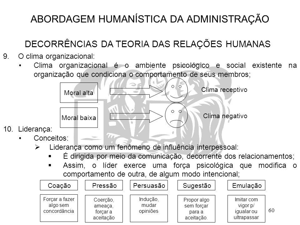 60 ABORDAGEM HUMANÍSTICA DA ADMINISTRAÇÃO DECORRÊNCIAS DA TEORIA DAS RELAÇÕES HUMANAS 9.O clima organizacional: Clima organizacional é o ambiente psic