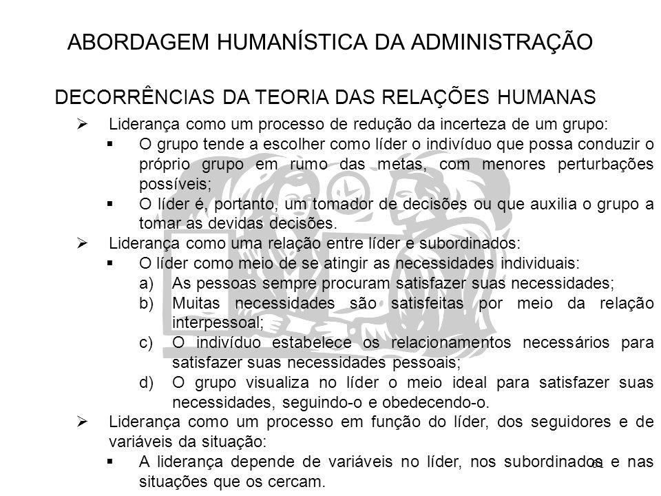 61 ABORDAGEM HUMANÍSTICA DA ADMINISTRAÇÃO DECORRÊNCIAS DA TEORIA DAS RELAÇÕES HUMANAS  Liderança como um processo de redução da incerteza de um grupo