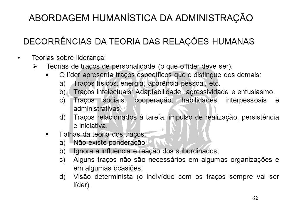 62 ABORDAGEM HUMANÍSTICA DA ADMINISTRAÇÃO DECORRÊNCIAS DA TEORIA DAS RELAÇÕES HUMANAS Teorias sobre liderança:  Teorias de traços de personalidade (o
