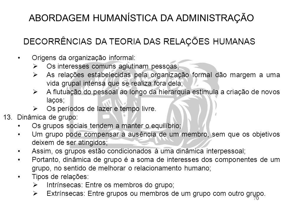70 ABORDAGEM HUMANÍSTICA DA ADMINISTRAÇÃO DECORRÊNCIAS DA TEORIA DAS RELAÇÕES HUMANAS Origens da organização informal:  Os interesses comuns aglutina
