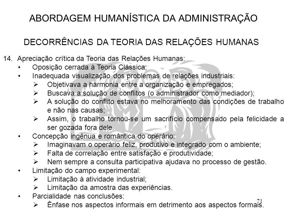 71 ABORDAGEM HUMANÍSTICA DA ADMINISTRAÇÃO DECORRÊNCIAS DA TEORIA DAS RELAÇÕES HUMANAS 14.Apreciação crítica da Teoria das Relações Humanas: Oposição c