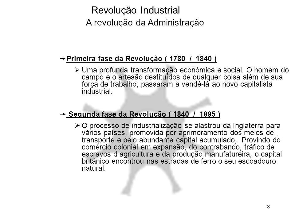 8 Revolução Industrial A revolução da Administração  Primeira fase da Revolução ( 1780 / 1840 )  Uma profunda transformação econômica e social. O ho