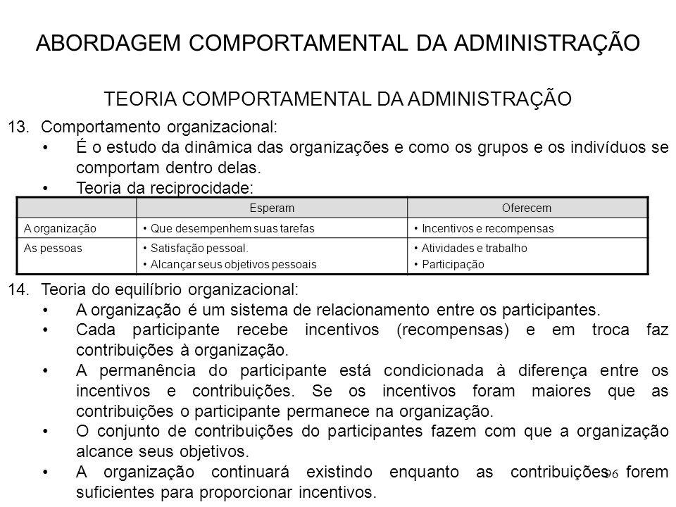 96 13.Comportamento organizacional: É o estudo da dinâmica das organizações e como os grupos e os indivíduos se comportam dentro delas. Teoria da reci