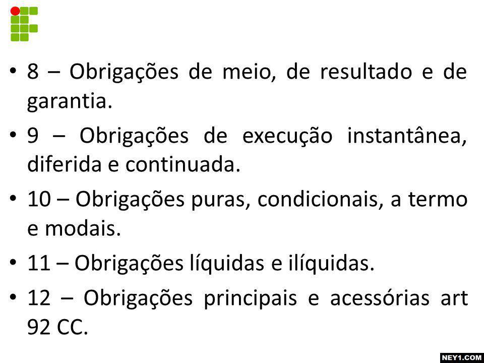 8 – Obrigações de meio, de resultado e de garantia. 9 – Obrigações de execução instantânea, diferida e continuada. 10 – Obrigações puras, condicionais