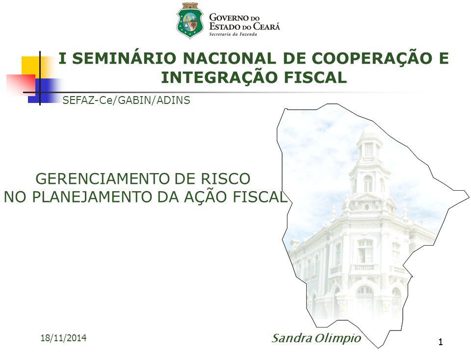 11 18/11/2014 GERENCIAMENTO DE RISCO NO PLANEJAMENTO DA AÇÃO FISCAL SEFAZ-Ce/GABIN/ADINS Sandra Olimpio I SEMINÁRIO NACIONAL DE COOPERAÇÃO E INTEGRAÇÃ
