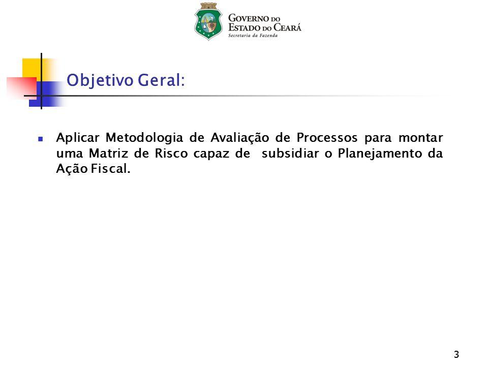 33 Objetivo Geral: Aplicar Metodologia de Avaliação de Processos para montar uma Matriz de Risco capaz de subsidiar o Planejamento da Ação Fiscal.