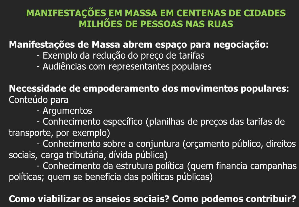 MANIFESTAÇÕES EM MASSA EM CENTENAS DE CIDADES MILHÕES DE PESSOAS NAS RUAS Manifestações de Massa abrem espaço para negociação: - Exemplo da redução do preço de tarifas - Audiências com representantes populares Necessidade de empoderamento dos movimentos populares: Conteúdo para - Argumentos - Conhecimento específico (planilhas de preços das tarifas de transporte, por exemplo) - Conhecimento sobre a conjuntura (orçamento público, direitos sociais, carga tributária, dívida pública) - Conhecimento da estrutura política (quem financia campanhas políticas; quem se beneficia das políticas públicas) Como viabilizar os anseios sociais.