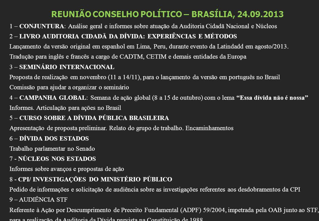 REUNIÃO CONSELHO POLÍTICO – BRASÍLIA, 24.09.2013 1 – CONJUNTURA: Análise geral e informes sobre atuação da Auditoria Cidadã Nacional e Núcleos 2 – LIVRO AUDITORIA CIDADÃ DA DÍVIDA: EXPERIÊNCIAS E MÉTODOS Lançamento da versão original em espanhol em Lima, Peru, durante evento da Latindadd em agosto/2013.