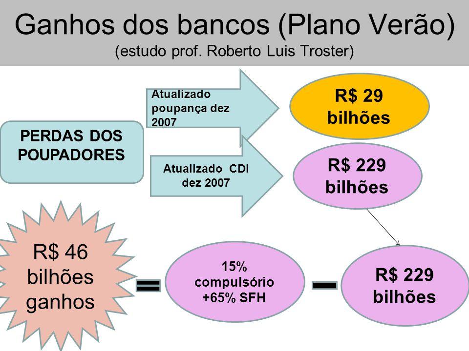 Ganhos dos bancos (Plano Verão) (estudo prof.