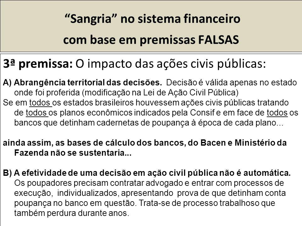 Sangria no sistema financeiro com base em premissas FALSAS 3ª premissa: O impacto das ações civis públicas: A) Abrangência territorial das decisões.