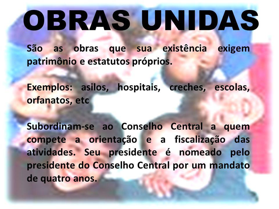 OBRAS UNIDAS São as obras que sua existência exigem patrimônio e estatutos próprios. Exemplos: asilos, hospitais, creches, escolas, orfanatos, etc Sub
