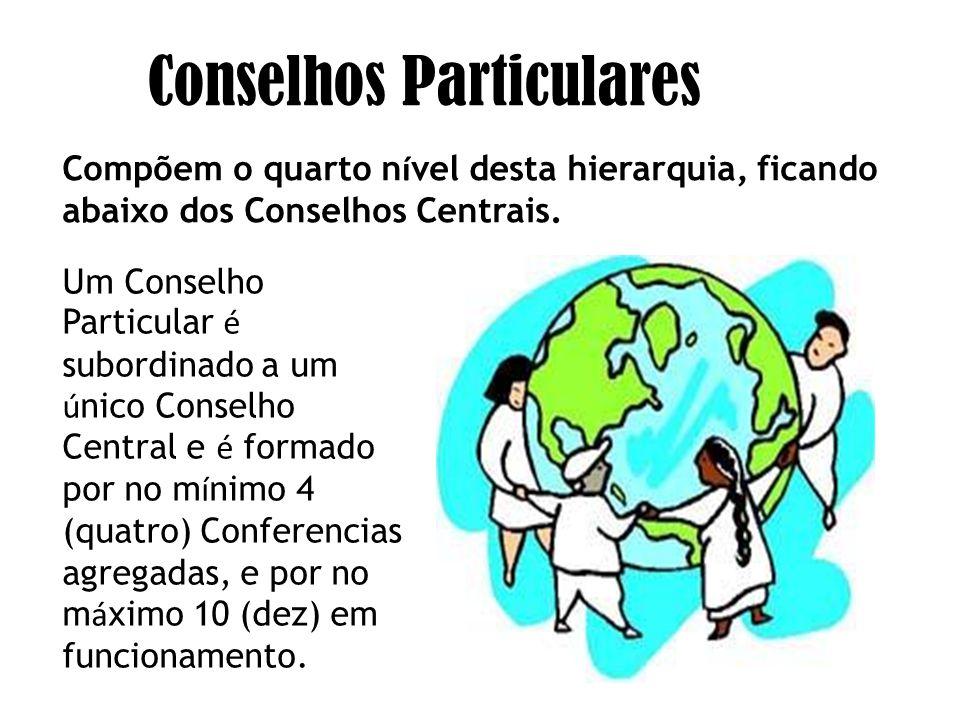 Um Conselho Particular é subordinado a um ú nico Conselho Central e é formado por no m í nimo 4 (quatro) Conferencias agregadas, e por no m á ximo 10 (dez) em funcionamento.