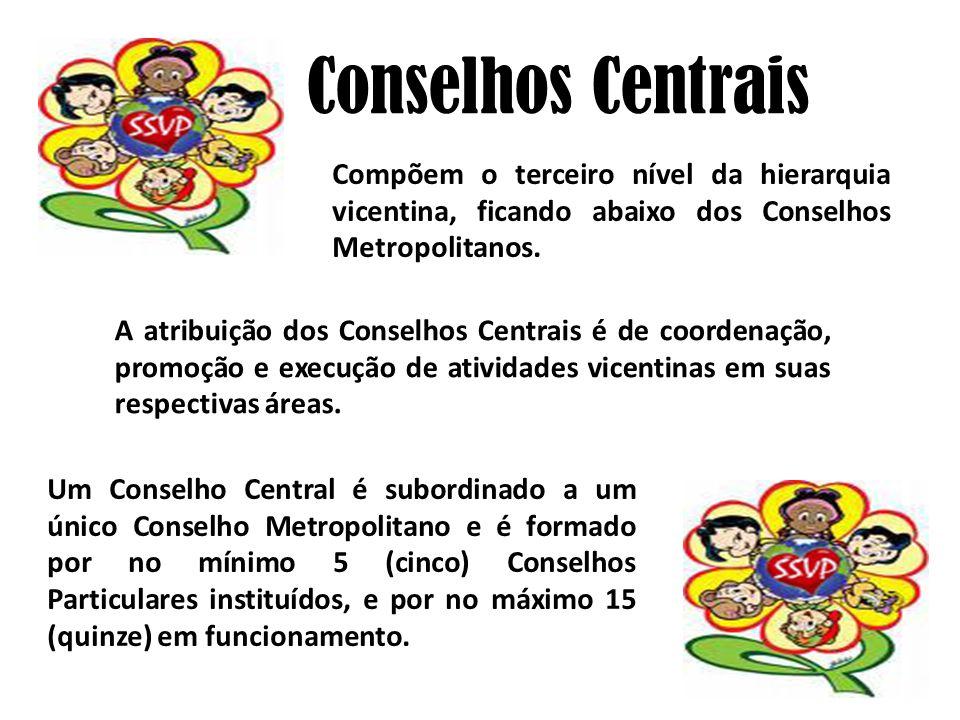 A atribuição dos Conselhos Centrais é de coordenação, promoção e execução de atividades vicentinas em suas respectivas áreas. Conselhos Centrais Compõ