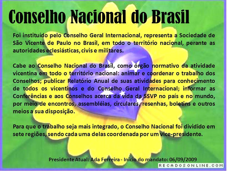 Foi instituído pelo Conselho Geral Internacional, representa a Sociedade de São Vicente de Paulo no Brasil, em todo o território nacional, perante as autoridades eclesiásticas, civis e militares.