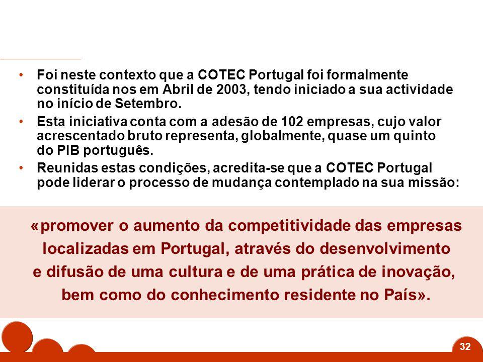 32 Foi neste contexto que a COTEC Portugal foi formalmente constituída nos em Abril de 2003, tendo iniciado a sua actividade no início de Setembro.
