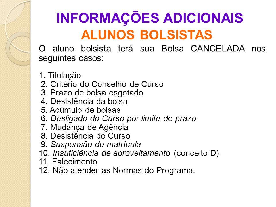 INFORMAÇÕES ADICIONAIS ALUNOS BOLSISTAS O aluno bolsista terá sua Bolsa CANCELADA nos seguintes casos: 1.