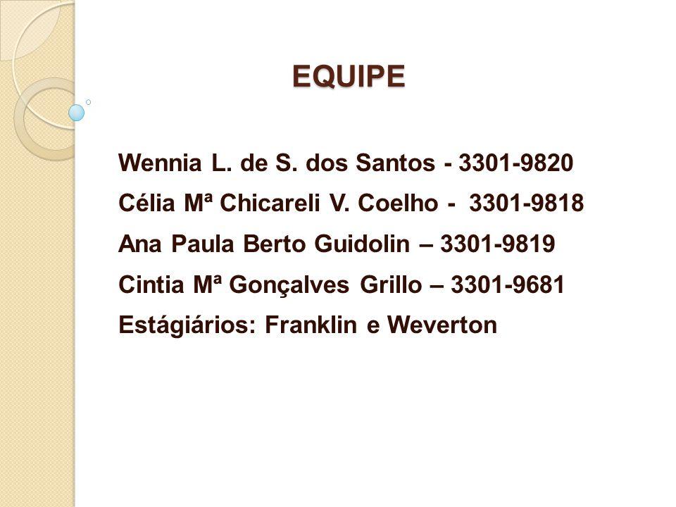 EQUIPE Wennia L. de S. dos Santos - 3301-9820 Célia Mª Chicareli V.