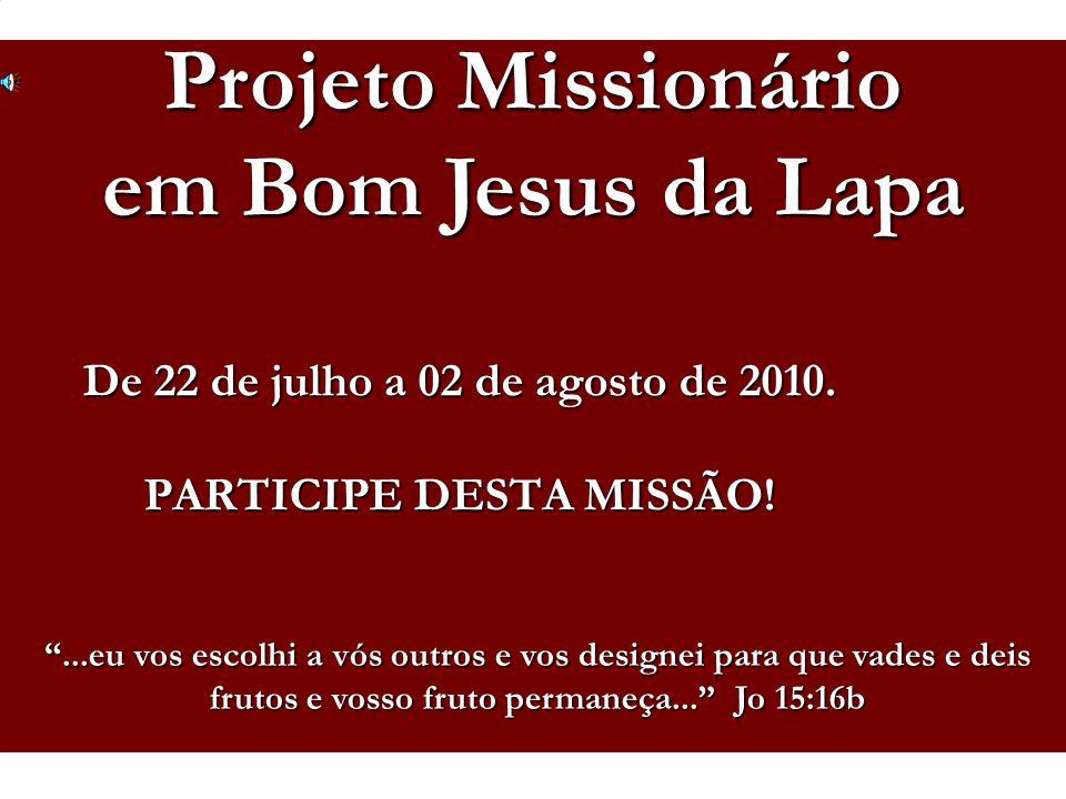"""Voluntários em Missão / De 22 de julho a 02 de agosto de 2010. PARTICIPE DESTA MISSÃO! Projeto Missionário em Bom Jesus da Lapa """"...eu vos escolhi a v"""