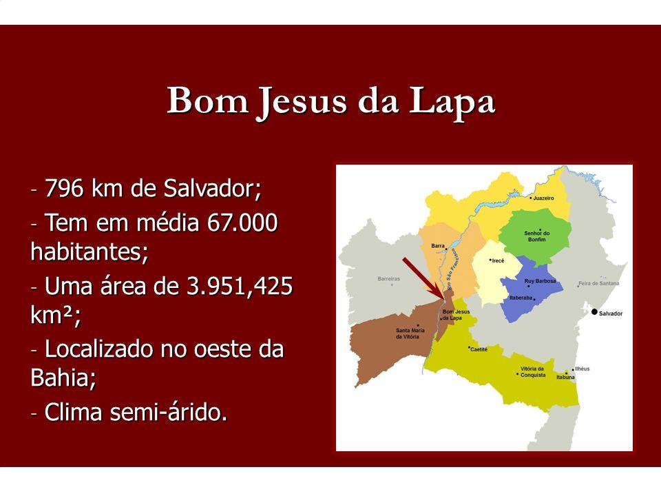 - 796 km de Salvador; - Tem em média 67.000 habitantes; - Uma área de 3.951,425 km²; - Localizado no oeste da Bahia; - Clima semi-árido. Bom Jesus da