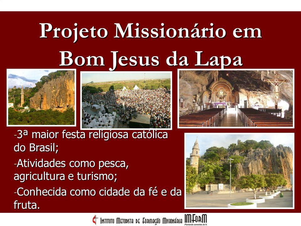 Projeto Missionário em - 3ª maior festa religiosa católica do Brasil; - Atividades como pesca, agricultura e turismo; - Conhecida como cidade da fé e
