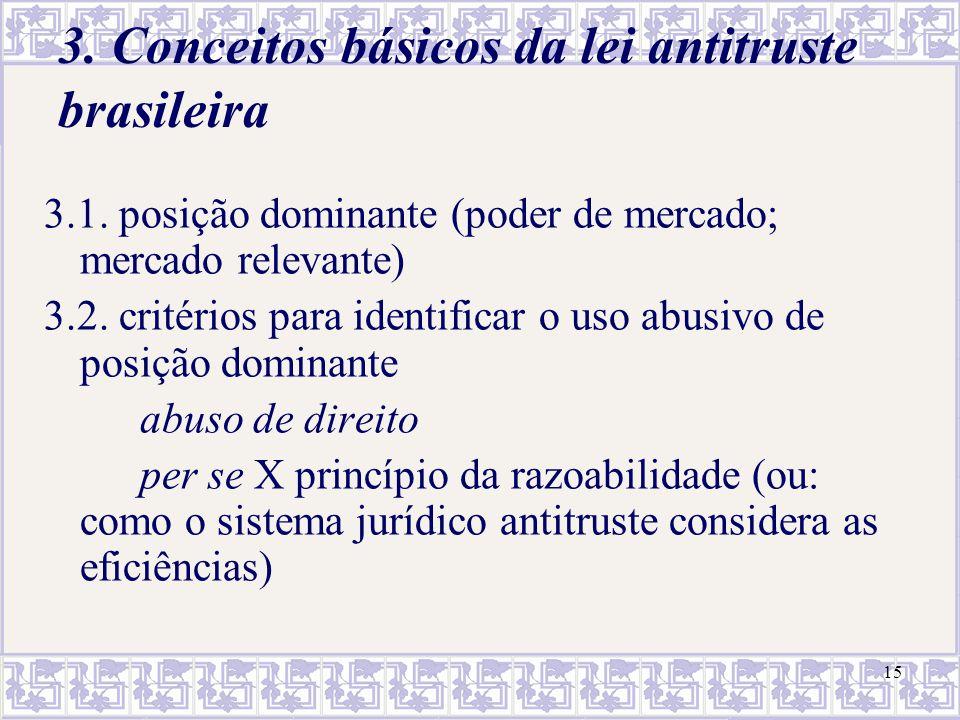 15 3. Conceitos básicos da lei antitruste brasileira 3.1. posição dominante (poder de mercado; mercado relevante) 3.2. critérios para identificar o us